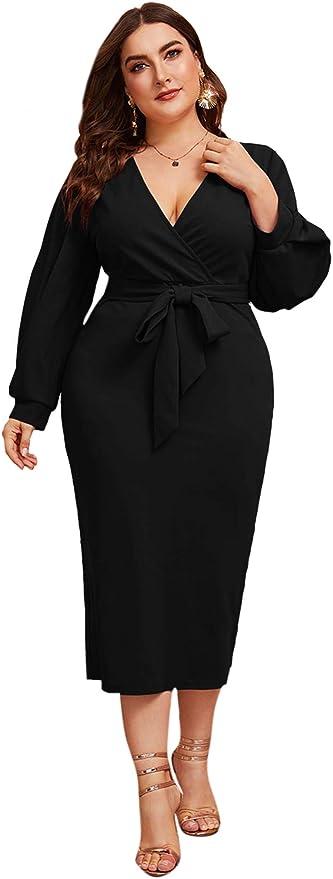 Verdusa Womens Pearl Beaded Tie Neck Mesh Bishop Sleeve Dress