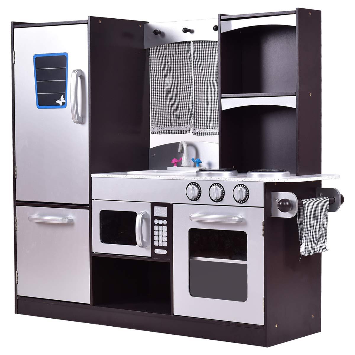 Costzon Kids Kitchen Playset, Wooden Cookware Pretend Cooking Food Set Toddler Gift Toy (37.4'' Height, Espresso)