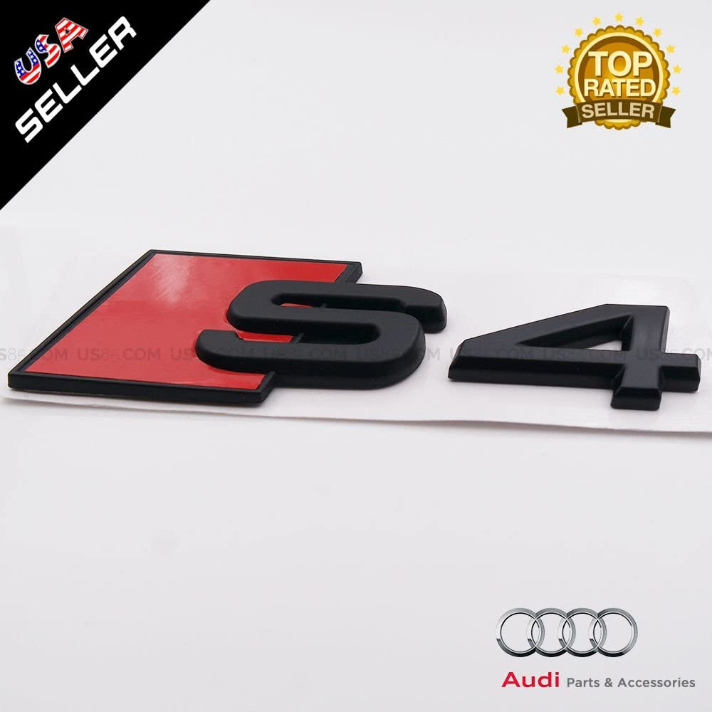 US85 OEM Size ABS Nameplate S4 Matte Black Emblem 3D Trunk Logo Badge Decoration