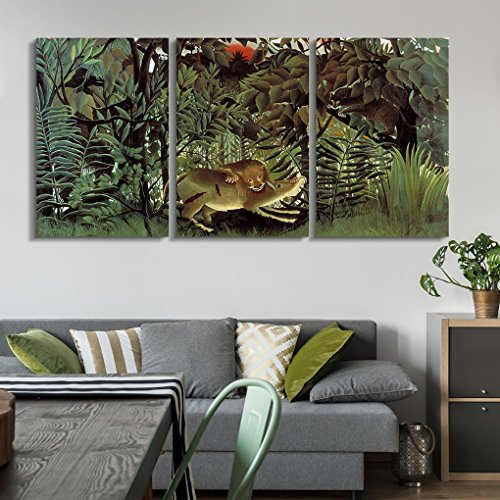 wall26 3 Panel World Famous Painting Reproduction on Canvas Wall Art - The Hungry Lion Throws Itself on the Antelope by Henri Rousseau - Modern Home Decor Ready to Hang (Henri Rousseau Canvas Painting)