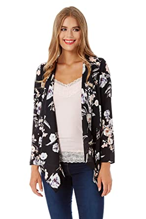 f68865606c36 ... Women Floral Kimono Jacket - Ladies Cardigan Beachwear Loose Shawl  Kaftan Boho Summer Blouse Cardigans Shawls - Multi - Size 20  Amazon.co.uk   Clothing