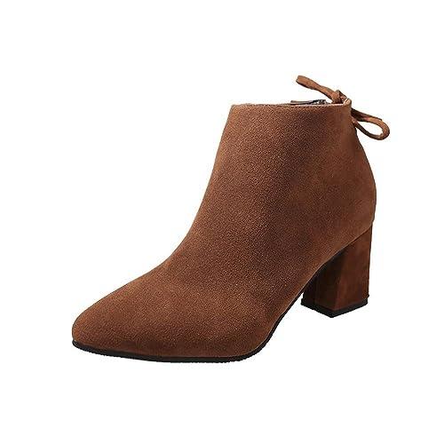 be76993d0 Botines de Mujer Tacón Cuadrado con Cordones Botines Martin Botines de Tacón  Alto por ESAILQ  Amazon.es  Zapatos y complementos