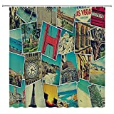 SATVSHOP Shower-Curtain-Decor-Heavy-Weighted-and-Waterproof-Holiday-Mosaic-with-s-of-Different-Plac-Landmarks-Snapshots-Travel-Vacation-Theme-.W54-x-L72-inch