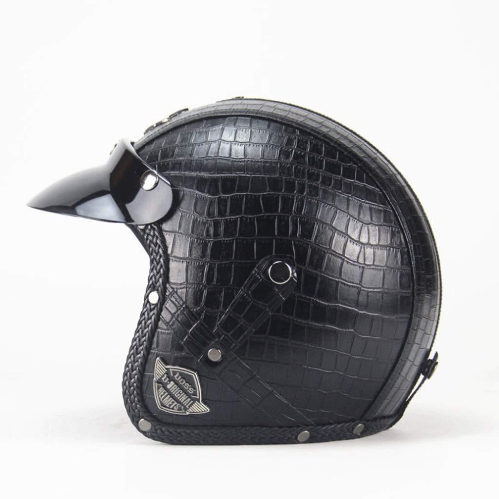 ヘルメットレトロハンドレトロハレーヘルメットオートバイハーフヘルメットセミカバーニュートラル3/4レザーヘルメット (Color : 黒1, Size : XL)