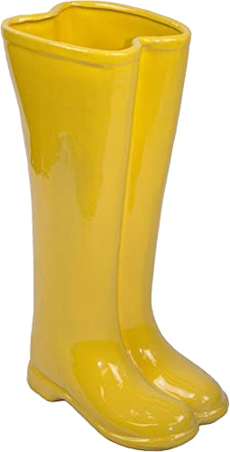 Sagebrook Home 10594-01 Ceramic Boots Umbrella Stand, Yellow Ceramic, 12 x 7 x 19 Inches