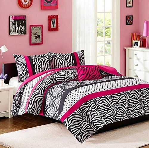 Read About Comforter Bed Set Teen Kids Girls Pink Black White Animal Print Polka Dots Bedding Set (T...
