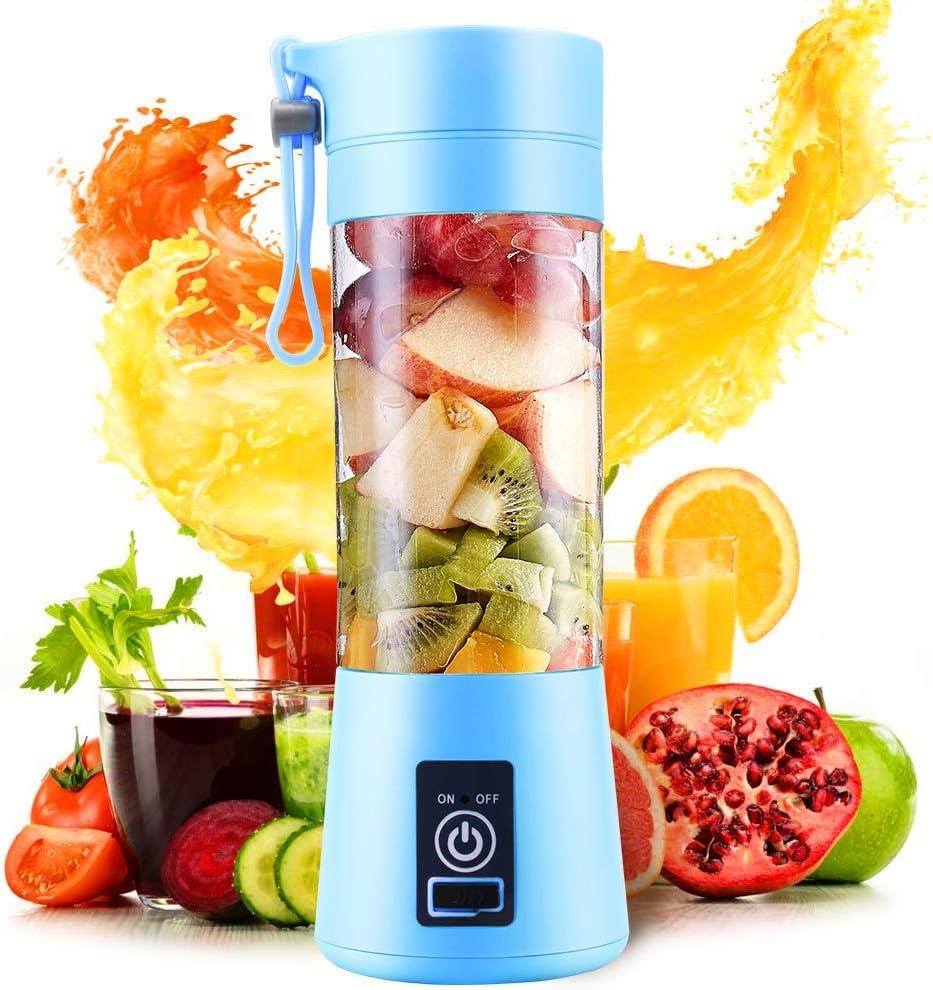 Mezclador personal portátil para batidora de frutas, botella de zumo recargable para oficina al aire libre, viajes, 380 ml: Amazon.es: Hogar