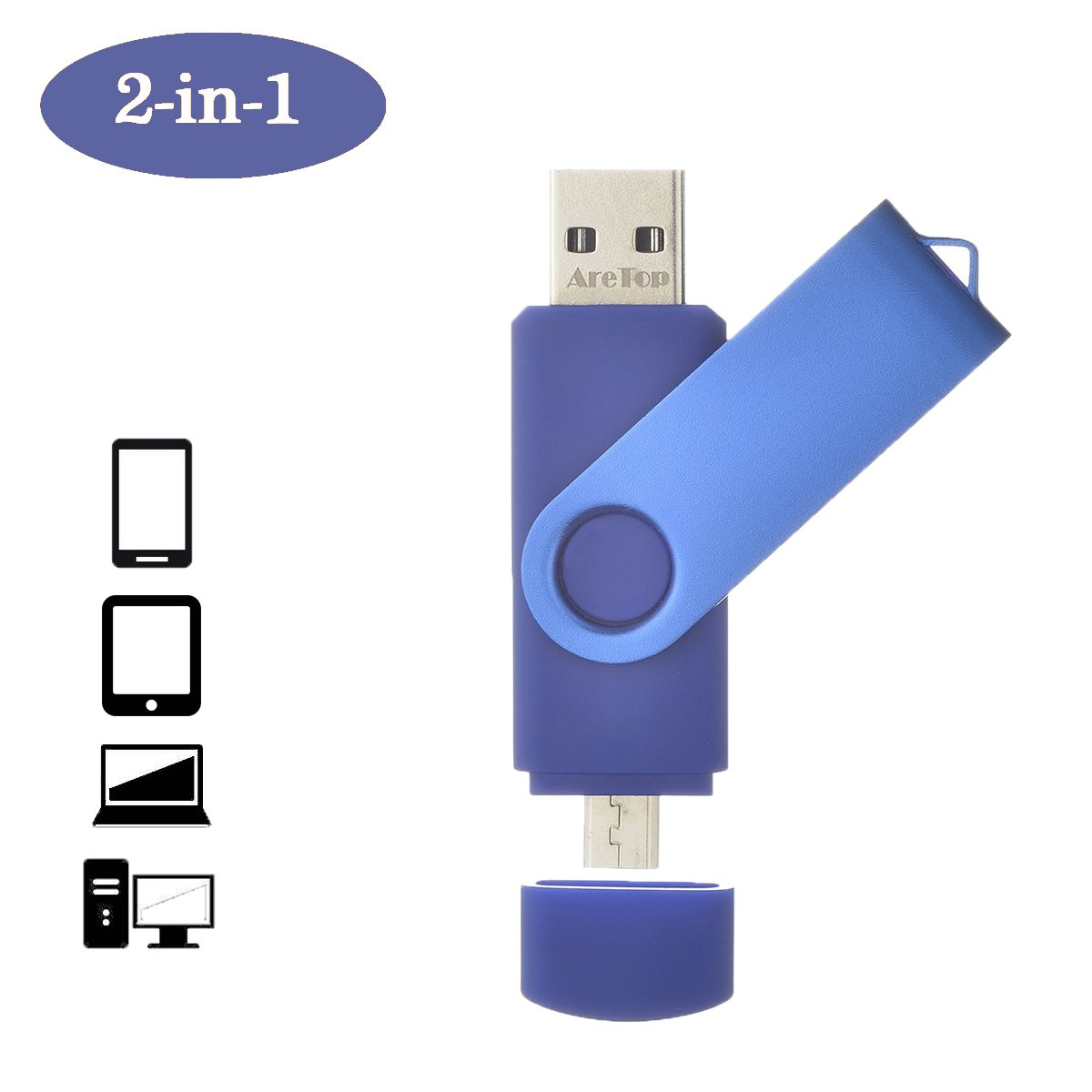 Dual Flash Drive 32GB ARETOP OTG USB2.0 Flash Drive Disk Memory Stick Thumb Drives Pen Drive for Computers and Android Micro Devices (Smartphones Tablets PC Samsung etc. BLUE (Not for Type-C)