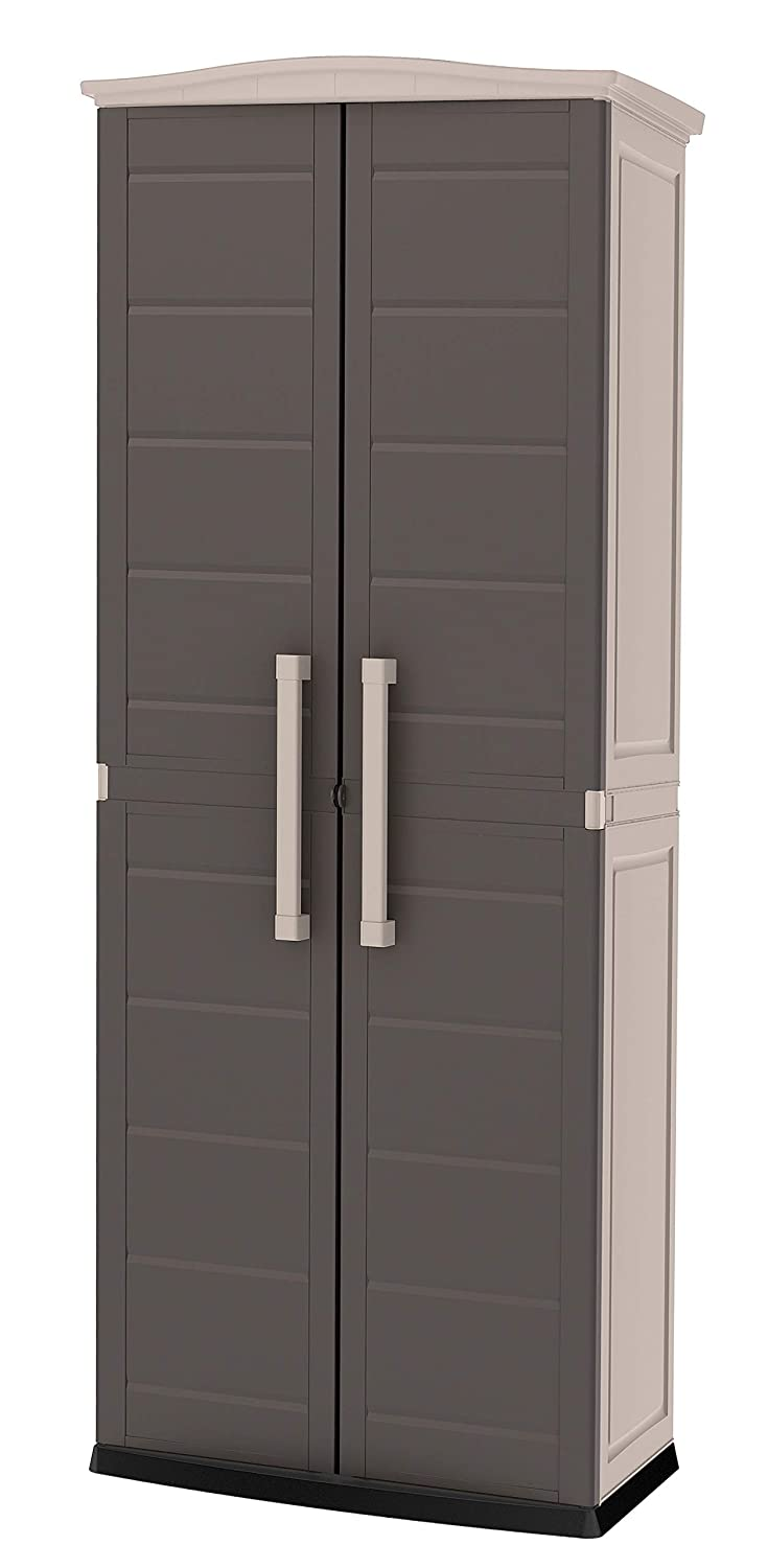 Keter 228852 Boston Tall Outdoor Storage Shed Cabinet, Brown