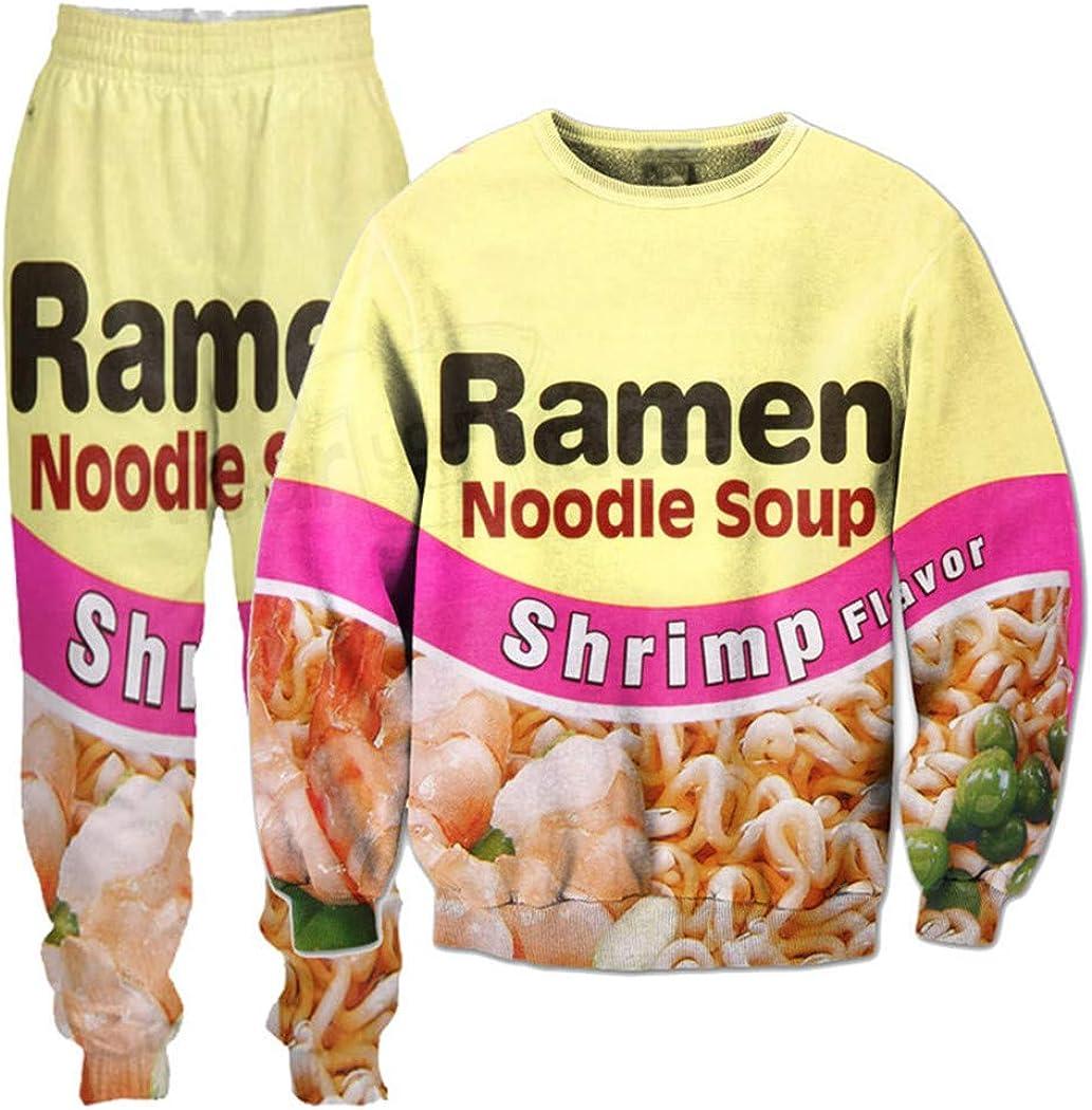 Shrimp Ramen Food 3D Printed Crewneck Novelty Sweatshirts Sweatpants Tracksuits Streetwear Sets for Kid Women Men