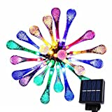 Goodia multi color 4.8M 20 LED Icicle Lights Solar Powered Raindrop Garden String Fairy Lights/LED Waterproof Decorative Lights for Outdoor, Garden, Patio, Christmas, Xmas Tree, Holiday Pa