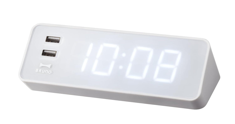 BRUNO LEDクロック with USB ホワイト BCR001-WH B009GY2XBKホワイト