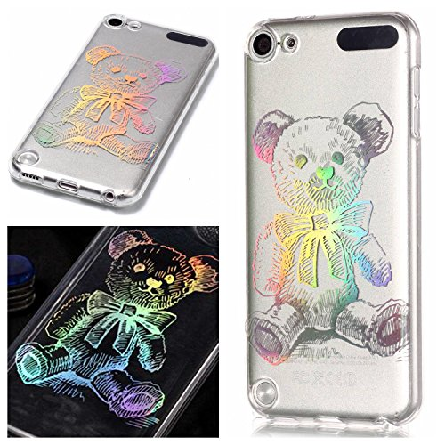 iPod Touch 5th / 6th Generation Clear Case Screen Protector, OYIME Plating Design Bright Pattern Slim Soft Rubber Glitter Brilliant Transparent Protective Backcover - Bear