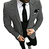 Premium White&Black Grid Plaid Slim Fit Check Houndstooth Tuxedo Prom Wedding Groom Suits Blazers Jacket Coat