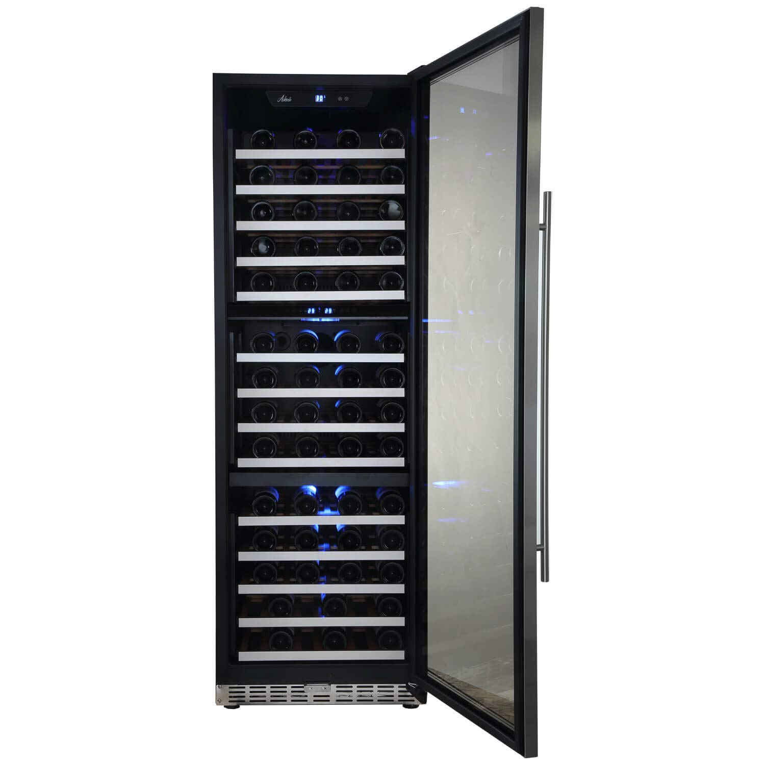 "Aokinle 144 Bottle Wine Cooler-Compressor,24"" Triple Zone Built-in&Freestanding,Steel Door&Double-Layer Tempered Glass Door Refrigerator,Temperature Memory Function&Touch Control"