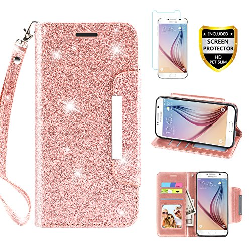 Galaxy S6 Case, with Screen Protector, TPU + Leather Bling Glitter Flip Wallet Case with Kickstand Credit Card Holder Slot for Girls/Women for Samsung Galaxy S6, Rose Gold