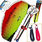 Prism Tantrum 220 Lava Kite Yellow Orange Bundle (3 Items) Dual Line Control Bar Foil Parafoil + Peter Lynn Heavy Duty Padded Kite Control Strap Handles Pair + WindBone Kiteboarding Lifestyle Stickers