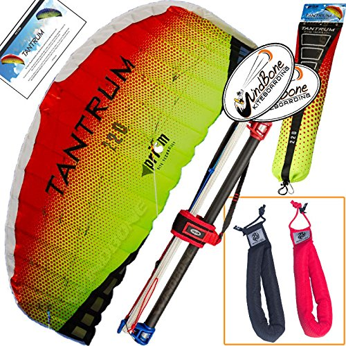 - Prism Tantrum 220 Lava Kite Yellow Orange Bundle (3 Items) Dual Line Control Bar Foil Parafoil + Peter Lynn Heavy Duty Padded Kite Control Strap Handles Pair + WindBone Kiteboarding Lifestyle Stickers
