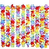 36 Pcs Hawaii Tropical Flower Leis Necklaces Accessories Party Supplies