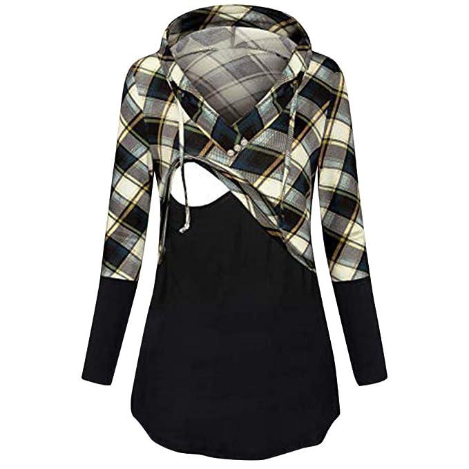 4317598e3 STRIR Camiseta de Mujer Maternidad de Doble Capa