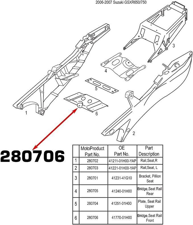 NEW SUZUKI SUBFRAME RIGHT SEAT RAIL 08 09 2008 2009 GSXR600//750 by MOTOFRAMES