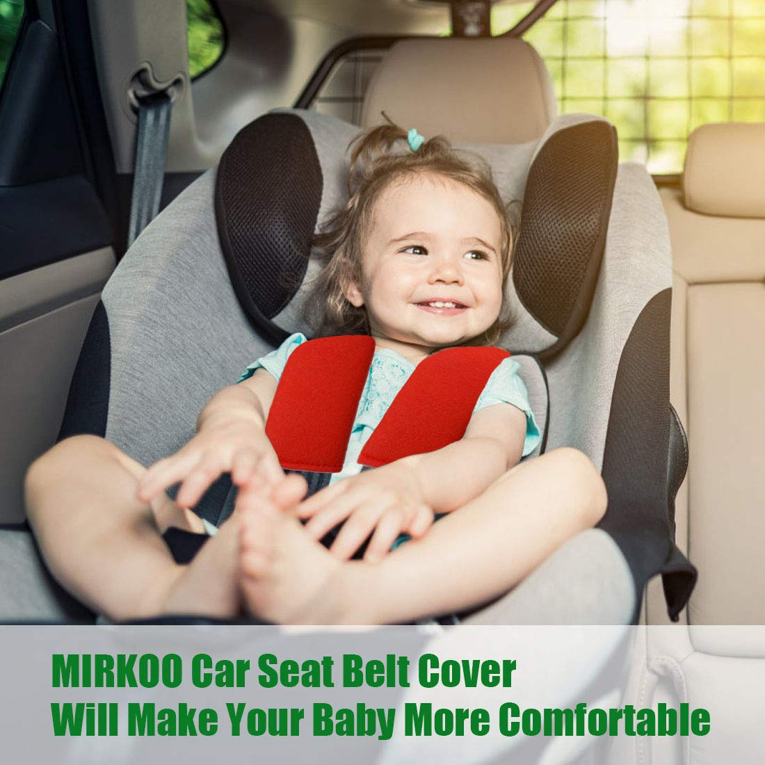MIRKOO Car Seat Belt Cover Pad Laptop Computer Bag Red-4P Shoulder Bag Suitable for Car Seat Belt 4-Pack Soft Car Safety Seat Belt Strap Shoulder Pad for Adults and Children Backpack