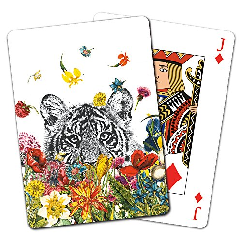 (Tree-Free Greetings Deck of Playing Cards, 2.5 x 0.8 x 3.5 Inches, White Tiger Flowers  (CD15930))