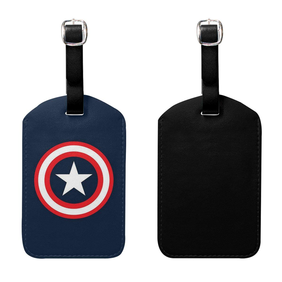 PU Leather Luggage Tags Captain America Suitcase Labels Bag Adjustable Leather Strap Travel Accessories Set of 2