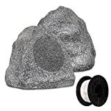 Theater Solutions 2R6G Outdoor Granite 6.5'' Rock 2 Speaker Set with Wire for Yard Pool Spa Garden