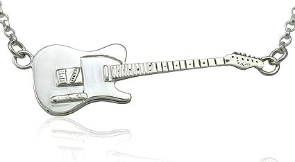 Colgante de guitarra eléctrica Fender Telecaster de plata de ley ...