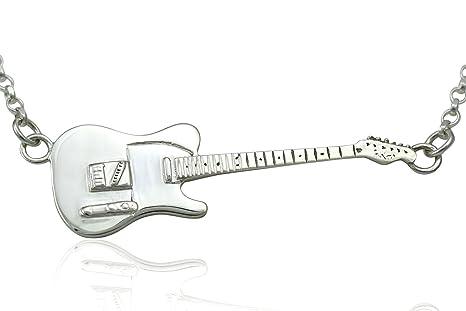 Colgante de guitarra eléctrica Fender Telecaster de plata de ley maciza y collar. Para regalar