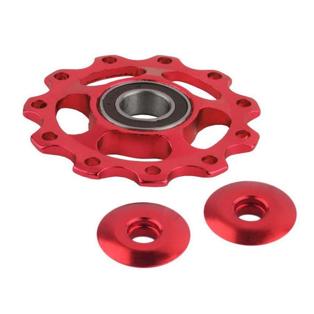 TONSEE 11Tooth MTB Ceramic Bearing Jockey Wheel Pulley Road Bicycle Bike Derailleur (Red)