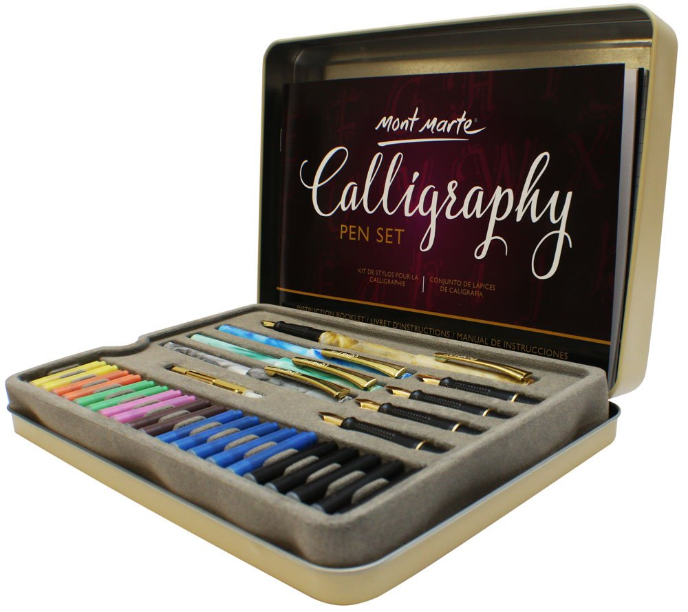 Mont Marte Calligraphy Set, 33 Piece. Includes Calligraphy Pens, Calligraphy Nibs, Ink Cartridges, Introduction Booklet and Exercise Booklet. by Mont Marte (Image #2)