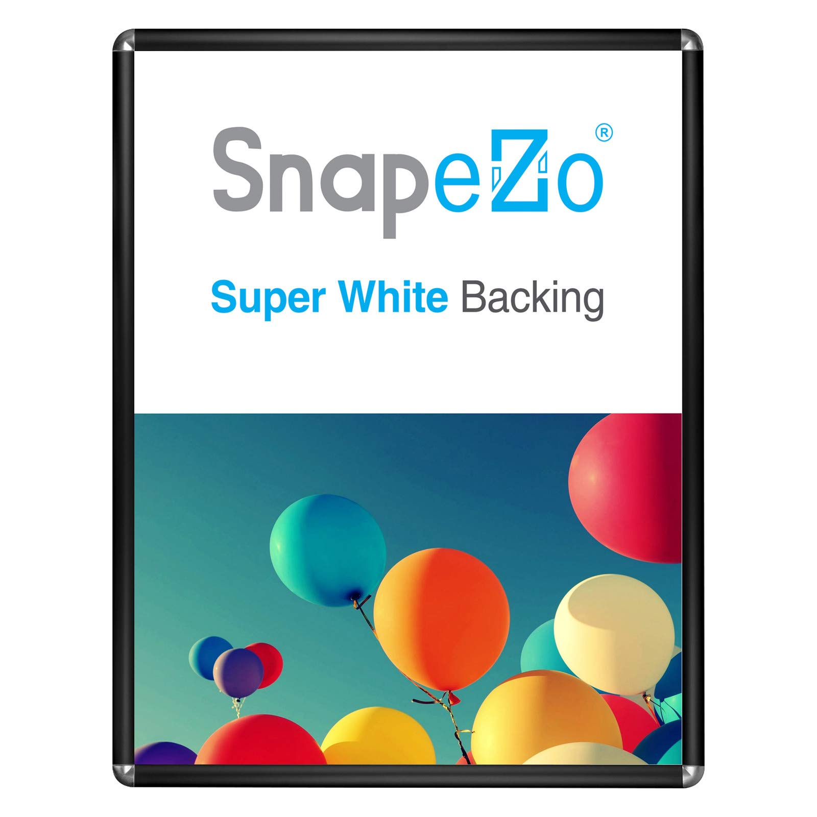 SnapeZo Movie Poster Frame 30x40 Inches, Black 1.25 Inch Aluminum Profile, Round-Cornered, Front-Loading Snap Frame, Wall Mounting, Professional Series