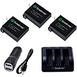 Smatree® Replacement battery (3-Pack) + 3-Channel charger +Car Charger+ USB Cord for Gopro Hero 4 Camera Camcorder