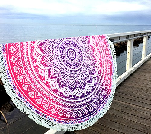 Aakriti Gallery Indian Ombre Mandala Round Tapestry Roundie with frill Beach Throw Cotton Beach Towel, Round Yoga Mat with frill Beach Round Shawl, 72 Beach Leisure, Picnic Mat (Pink)
