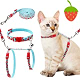 PAWCHIE Cat Harness with Leash and Collar Set - Escape Proof Adjustable H-shped Cat Vest, Soft Comfortable Strap for…