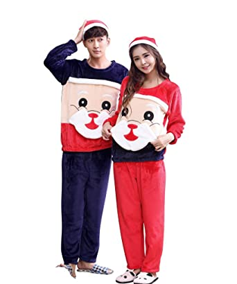 sojamas flannel cute matching couples christmas pajamas for mens womens medium red