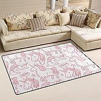 DEYYA Super Soft Modern Unicorn Area Rugs Living Room Carpet Bedroom Rug for Children Play Solid Home Decorator Floor Rug and Carpets 60 x 39 Inch