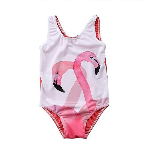 14e4b8e2d754a Honganda Kids Toddler Baby Girl Flamingos One-Piece Swimsuit Sleeveless Swimwear  Bathing Suit (Flamingo