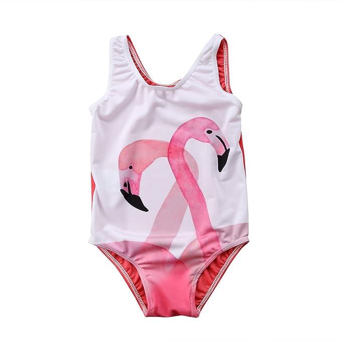 Amazon.com: honganda niños bebé niña flamencos traje de baño ...