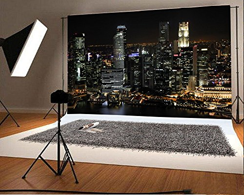 Theme Backdrop (7X5FT Laeacco Vinyl Thin Photography Background Aerial View Famous Big City Night View Theme Backdrop for Photo Studio Props)