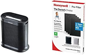 HONEYWELL Air Purifier, HPA200, Black HRF-A200 Pre Kit, 4 Pack air Purifier Filter, Black