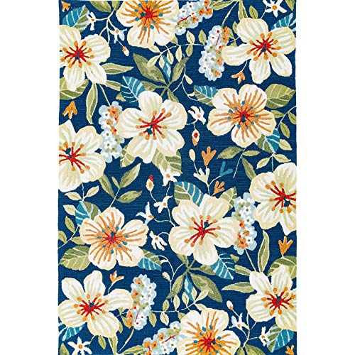 Decomall Florence Multicolor Floral Tile Hand-Hooked Accent Rug for Living Room or Bedroom, 2x3 ft, Blue