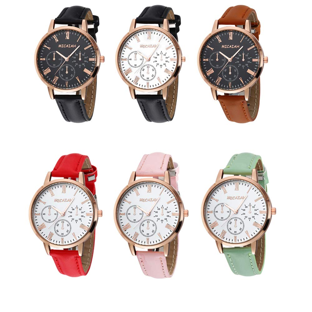 Unisex Women Men Wrist Watch Quartz Big Dial 38MM Leather Strap Band Bracelet for Boys Girls Wholesales 6 Pcs Fiiliip Mixed Color Style 2