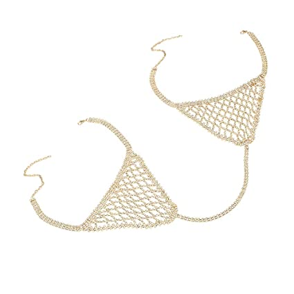 a37c470f00 Image Unavailable. Image not available for. Color  Crystal Body Chain Women  Bikini Beach Sexy Hollow Bra ...