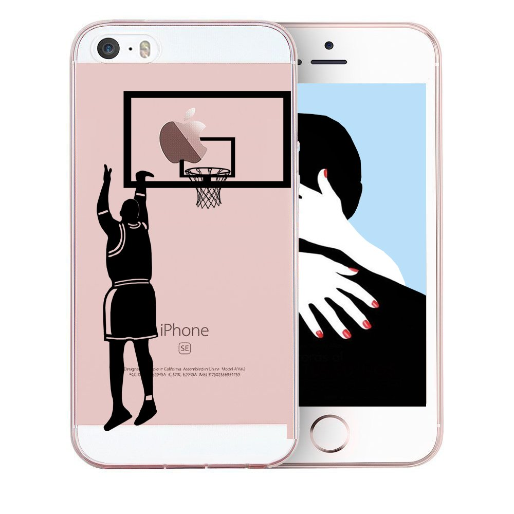 promo code 1f1b4 74d14 Amazon.com: iPhone 5S Case,iPhone 5 Case Dunk Shot, Personality Basketball  Clear Design Printed Transparent TPU Protective Phone Back Cover iPhone 5  (4 ...