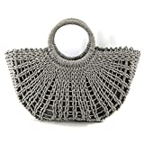 Women Handmade Straw Beach Bag, Straw Handbag, Straw basket, Wicker Bag, Tote Bag for Summer (Grey)