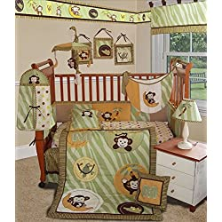 SISI Baby Bedding - Jungle Monkey Green 14 PCS Crib Bedding Including Lamp Shade unisex