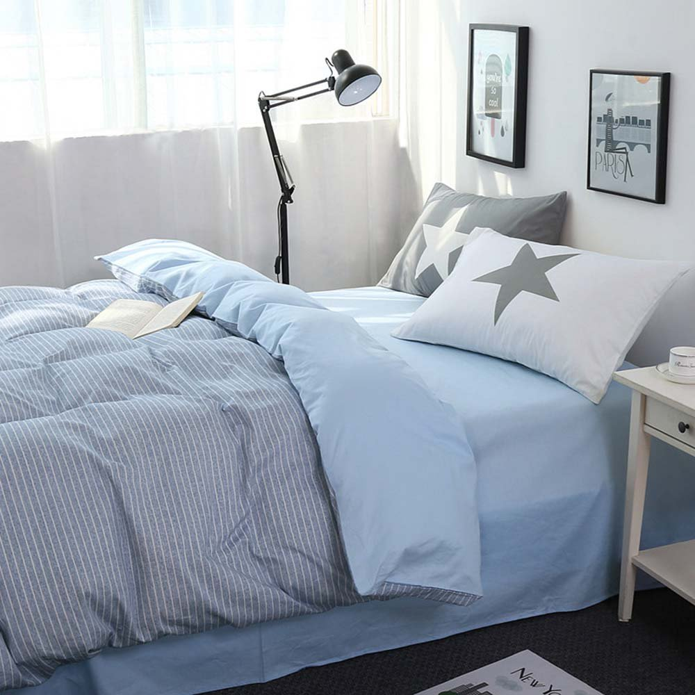 4 Corners Ties Quilt Cover King blue ELF021blueK Pure Color Simple Duvet Cover for Kids//Adult XUKEJU Deluxe 55/% Linen Flax Bedding Sets 3 pcs